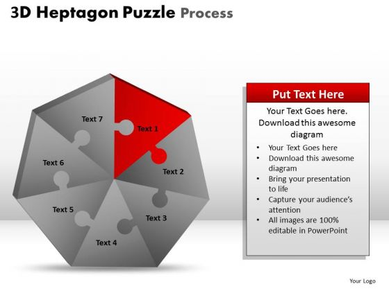 PowerPoint Design Editable Heptagon Puzzle Ppt Layout