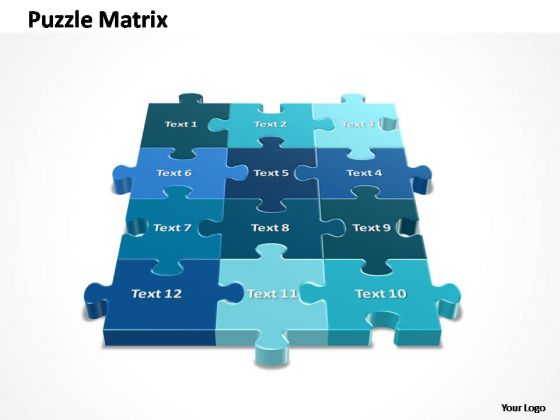 PowerPoint Design Growth 3x4 Rectangular Jigsaw Puzzle Matrix Ppt Slides
