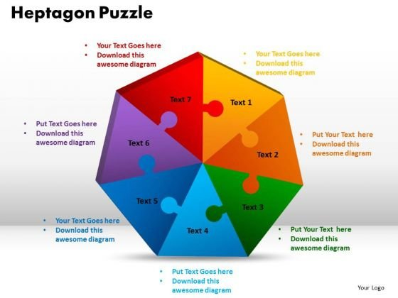 PowerPoint Design Heptagon Puzzle Business Ppt Template