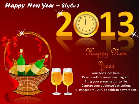 PowerPoint Design Slides 2013 Happy New Year Ppt Presentation