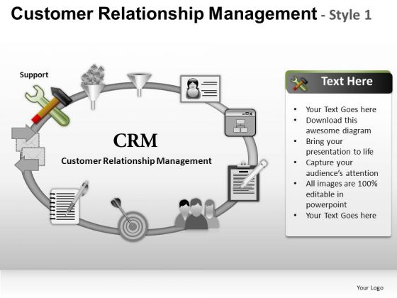 PowerPoint Design Slides Business Strategy Customer Relationship Management Ppt Presentation