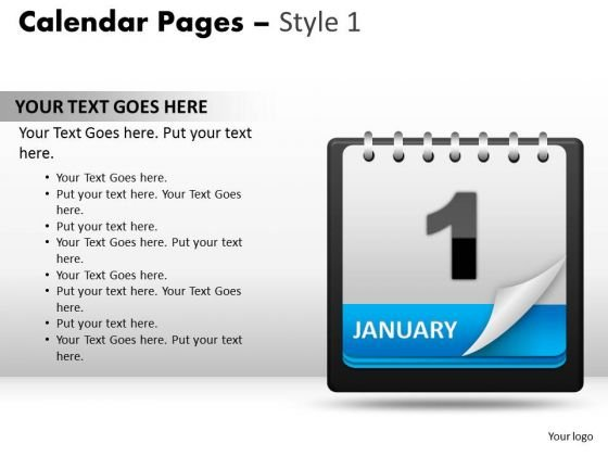 PowerPoint Design Slides Calendar 1 January Marketing Ppt Slide Designs