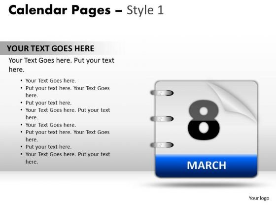 PowerPoint Design Slides Calendar 8 March Chart Ppt Template
