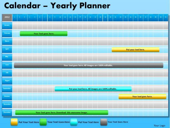 PowerPoint Design Slides Company Strategy Blue Calendar 2012 Ppt Design
