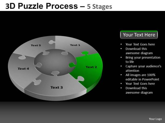 PowerPoint Design Slides Global Pie Chart Puzzle Process Ppt Template