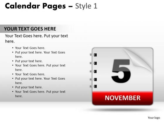 PowerPoint Design Slides Process Calendar 5 November Ppt Presentation Designs