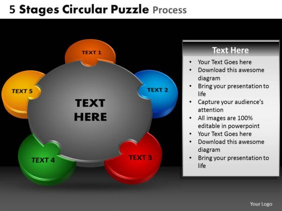 PowerPoint Design Slides Stages Circular Puzzle Teamwork Ppt Templates