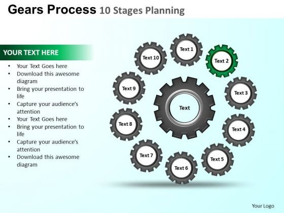 PowerPoint Design Strategy Gears Process Ppt Presentation