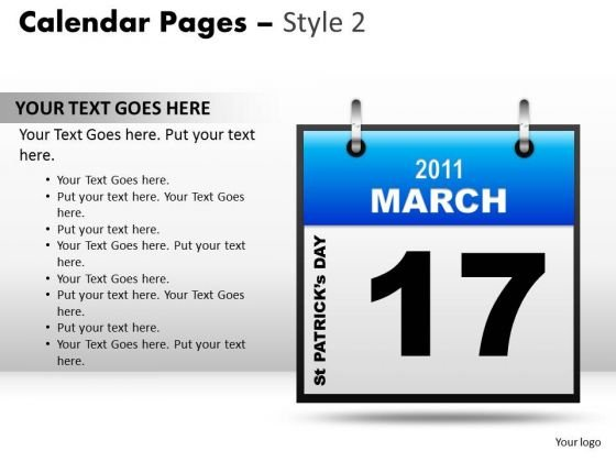 PowerPoint Design Success Calendar 17 March Ppt Layouts