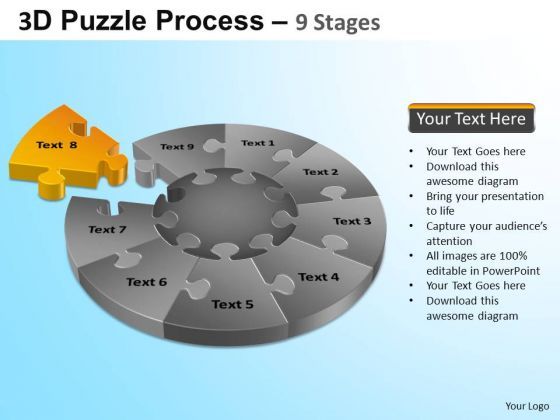 PowerPoint Design Success Puzzle Segment Pie Chart Ppt Template