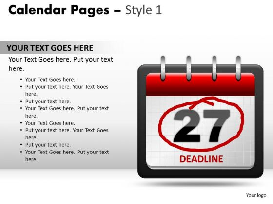PowerPoint Design Teamwork Calendar 27 Deadline Ppt Slides