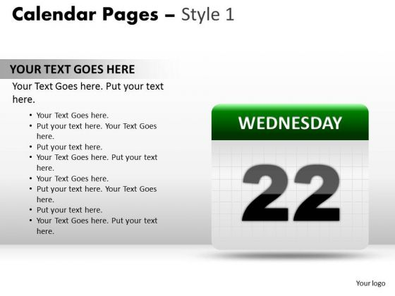PowerPoint Designs Calendar 22 Wednesday Leadership Ppt Design Slides
