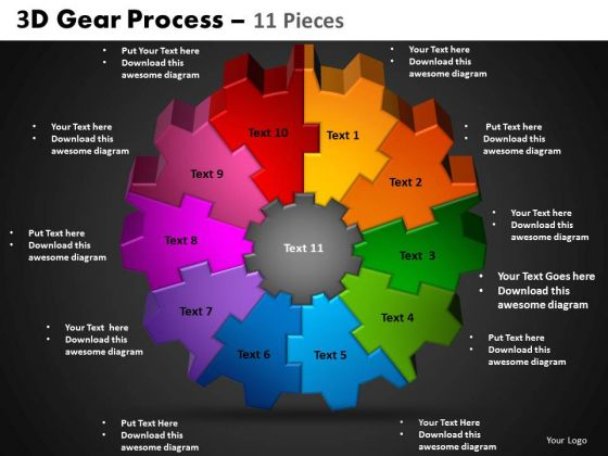 PowerPoint Designs Circle Process Gear Process Ppt Slides
