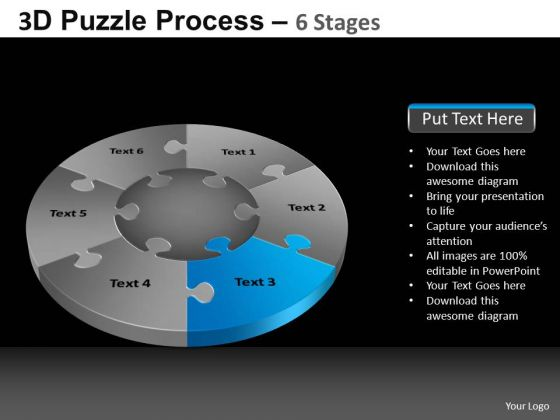 PowerPoint Designs Company Pie Chart Puzzle Process Ppt Presentation