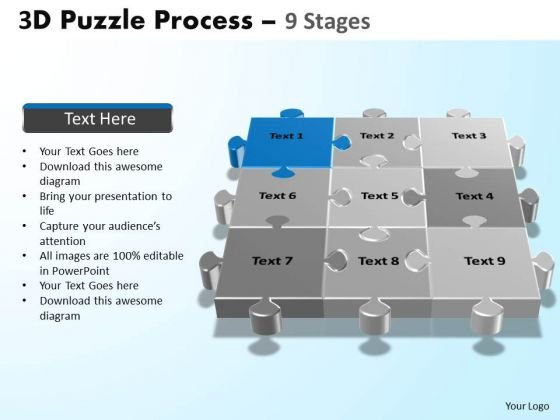 PowerPoint Designs Company Puzzle Process Ppt Slide Designs