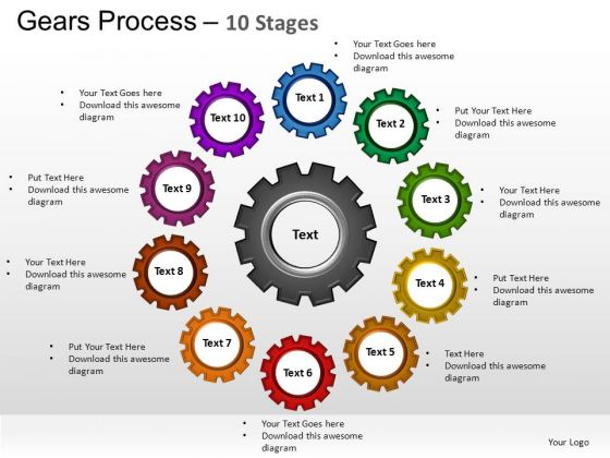PowerPoint Designs Diagram Gears Process Ppt Slide