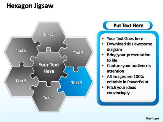 PowerPoint Designs Editable Hexagon Jigsaw Ppt Template