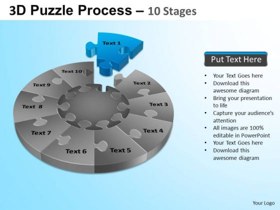 PowerPoint Designs Editable Puzzle Segment Pie Chart Ppt Backgrounds