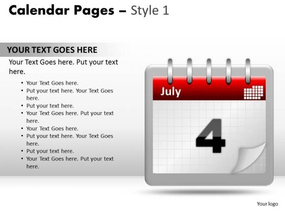 PowerPoint Designs Growth Calendar 4 July Ppt Theme