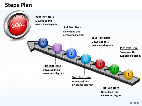 PowerPoint Designs Sales Steps Plan 7 Stages Style 4 Ppt Slides
