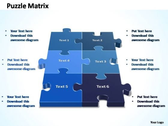 PowerPoint Designs Teamwork 2x3 Rectangular Jigsaw Puzzle Matrix Ppt Slide
