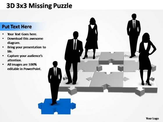 PowerPoint Designs Teamwork 3x3 1 Missing Puzzle Piece Ppt Themes