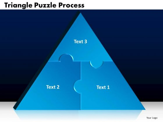 PowerPoint Designs Triangle Puzzle Process Marketing Ppt Slides