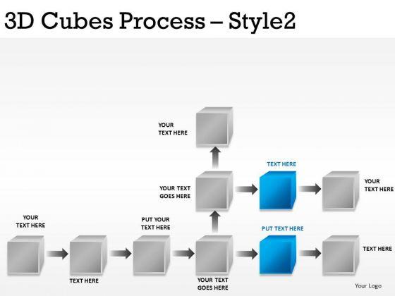PowerPoint Flowchart Diagram With 3d Cubes Editable Ppt Slides