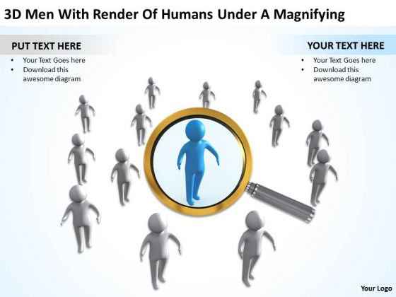 PowerPoint For Business 3d Man With Render Of Humans Under Magnifying Templates