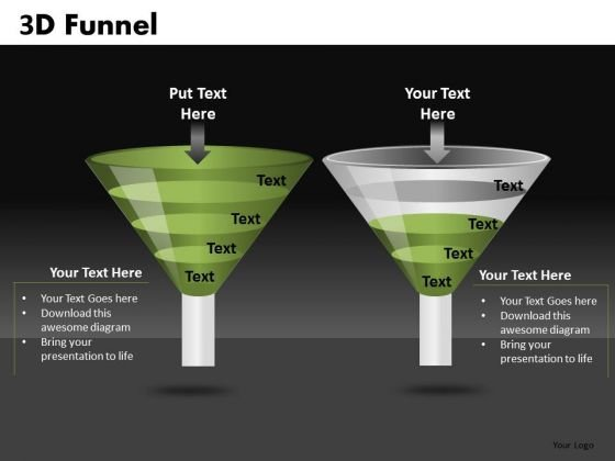PowerPoint Funnel Diagram Comparison Slides Ppt Templates