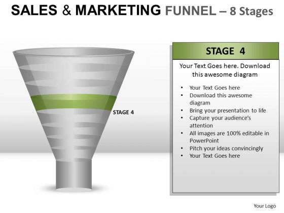 PowerPoint Graphic Showing Sales Marketing Finnel For Ppt Slides