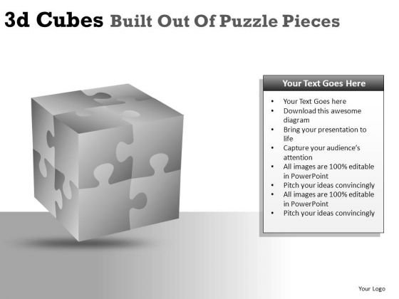 PowerPoint Graphics 3d Cube Puzzles PowerPoint Clipart Slides