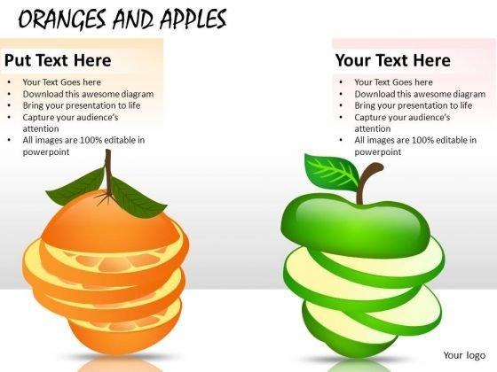 PowerPoint Graphics Apples Oranges Clipart Editable Ppt Slides