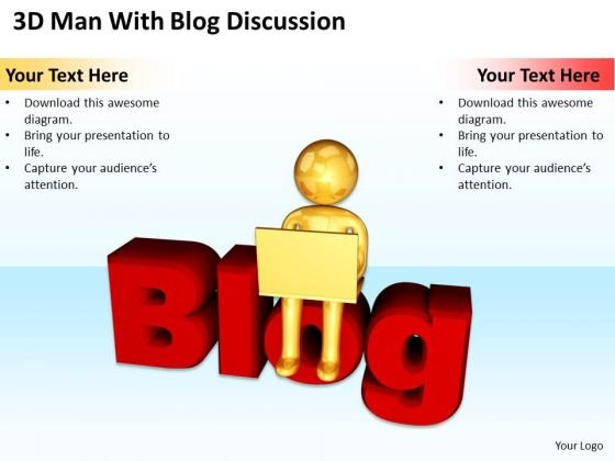 PowerPoint Graphics Business 3d Man With Blog Discussion Templates