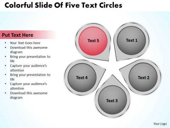 PowerPoint Graphics Business Colorful Slide Of Five Text Circles Slides