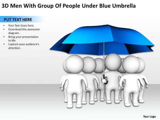 PowerPoint Graphics Business Under Blue Umbrella Templates Ppt Backgrounds For Slides