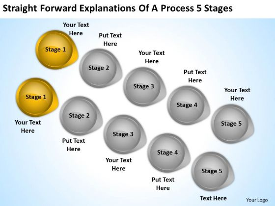 PowerPoint Insert Arrow Forward Explanations Of Process 5 Stages Templates
