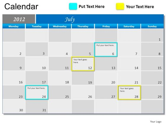 PowerPoint July 2012 Calendar Ppt Slide