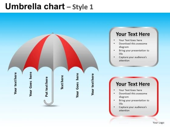 PowerPoint Layout Business Growth Mission Umbrella Chart Ppt Slide