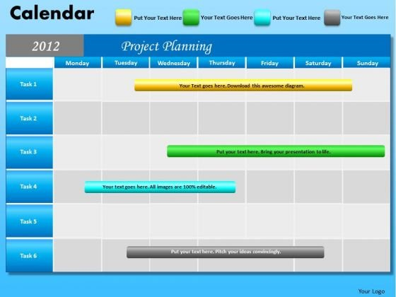 PowerPoint Layout Company Growth Blue Calendar 2012 Ppt Slide