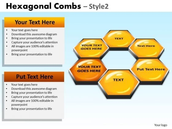 PowerPoint Layout Company Growth Hexagonal Combs Ppt Design