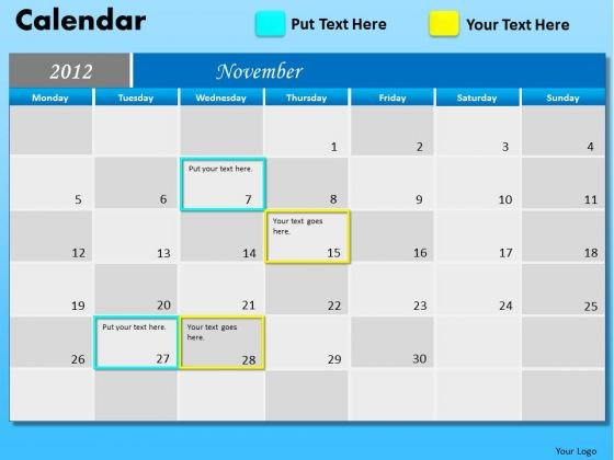 PowerPoint Layout Company Growth November Calendar 2012 Ppt Slides