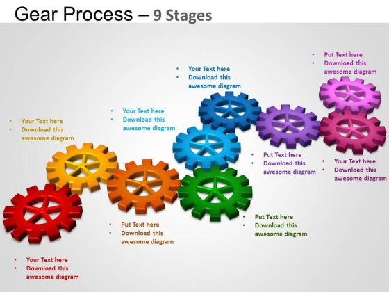 PowerPoint Layout Graphic Gears Process Ppt Slides