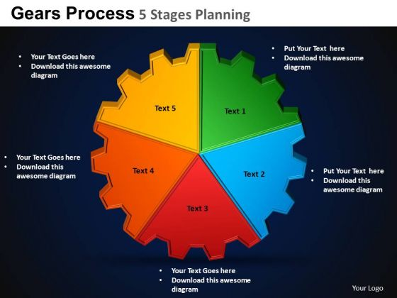 PowerPoint Layout Graphic Gears Process Ppt Template