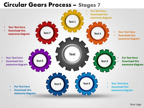 PowerPoint Layout Process Circular Gears Ppt Theme