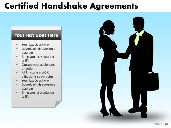 PowerPoint Layout Teamwork Certified Handshake Ppt Slidelayout