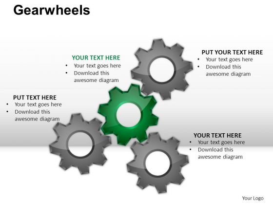 PowerPoint Layout Teamwork Gear Wheel Ppt Presentation