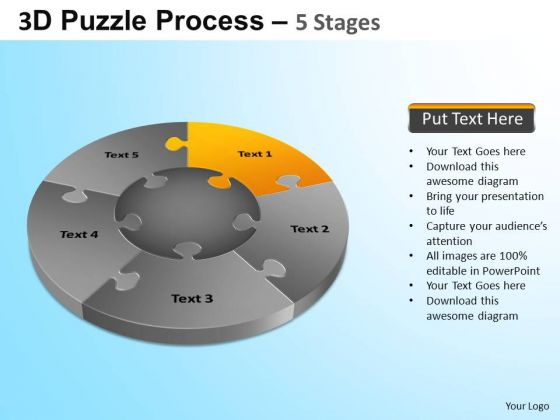 PowerPoint Layouts Business Jigsaw Pie Chart Ppt Slides