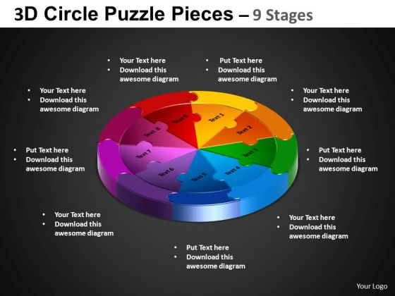 PowerPoint Layouts Circle Process Circle Puzzle Diagram Ppt Backgrounds