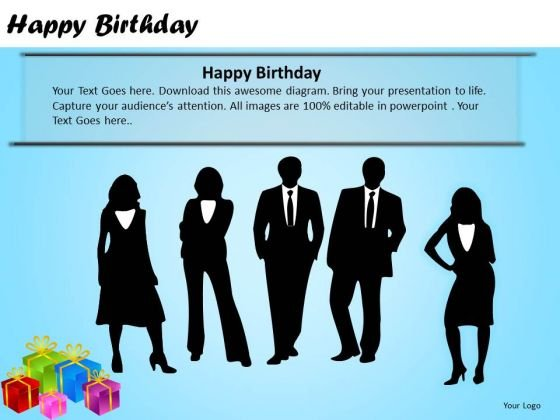 PowerPoint Layouts Company Growth Happy Birthday Ppt Slide